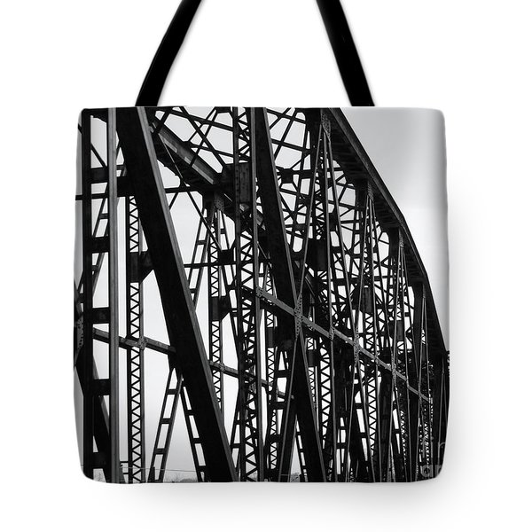 Tote Bag featuring the photograph Red River Train Bridge #4 by Robert ONeil