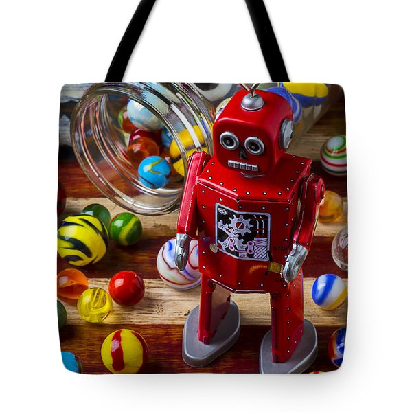 Red Robot And Marbles Tote Bag by Garry Gay