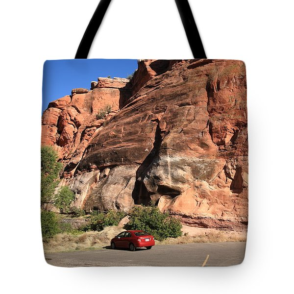 Red Rock And Red Car Tote Bag by Frank Romeo
