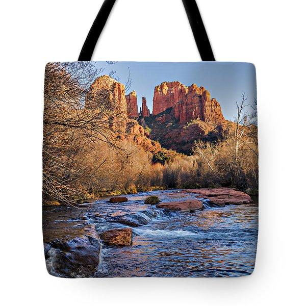 Red Rock Crossing Winter Tote Bag by Mary Jo Allen