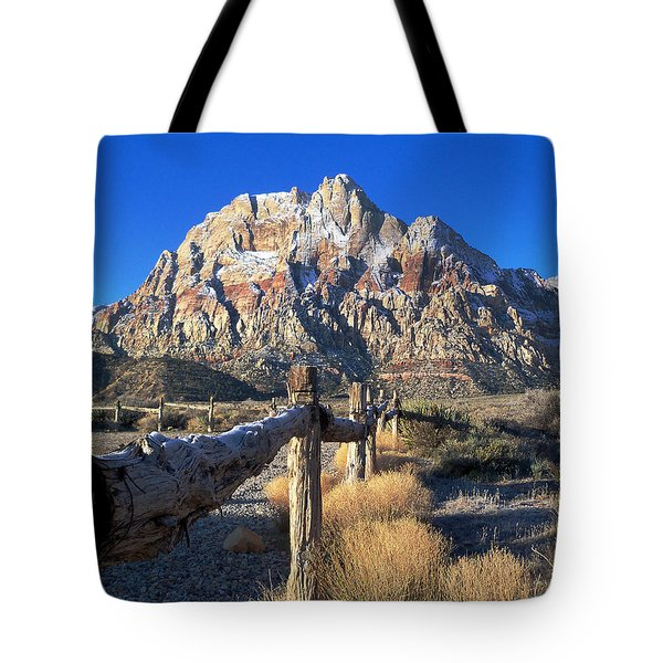 Red Rock Snow Tote Bag by Alan Socolik