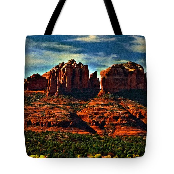 Red Rock State Park Arizona Sunrise Tote Bag by Bob and Nadine Johnston