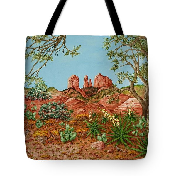 Tote Bag featuring the painting Landscapes Desert Red Rocks Of Sedona Arizona by Katherine Young-Beck