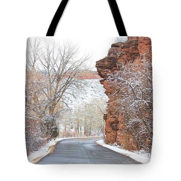 Red Rocks Winter Landscape Drive Tote Bag by James BO  Insogna