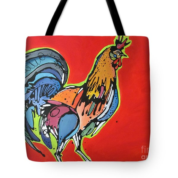 Tote Bag featuring the painting Red Rooster by Nicole Gaitan