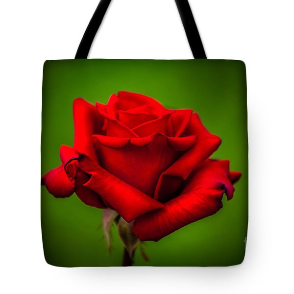 Red Rose Green Background Tote Bag