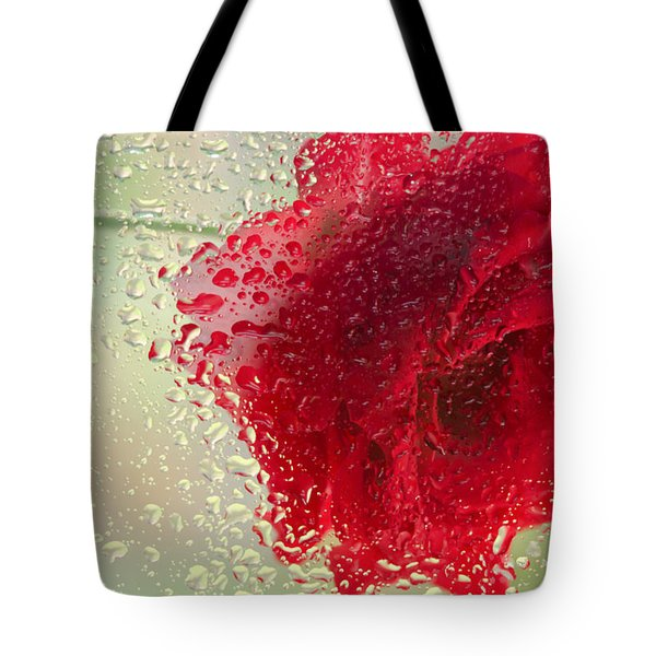 Red Rose In The Rain Tote Bag by Don Schwartz