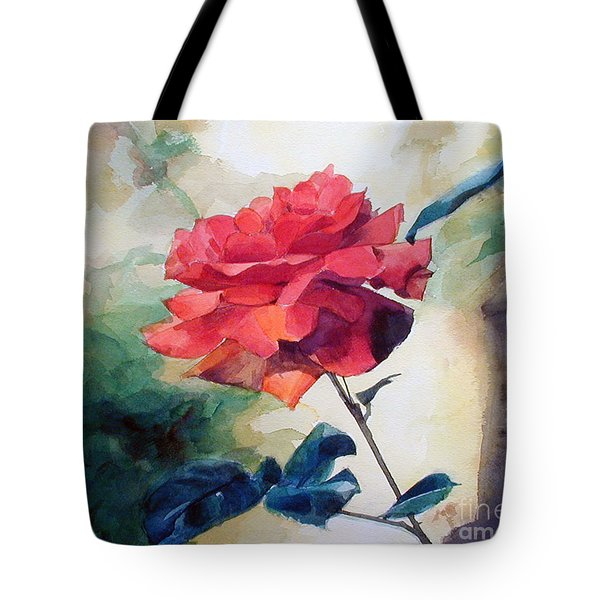 Watercolor Of A Single Red Rose On A Branch Tote Bag