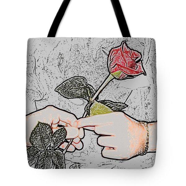 Red Rose Sketch By Jan Marvin Studios Tote Bag