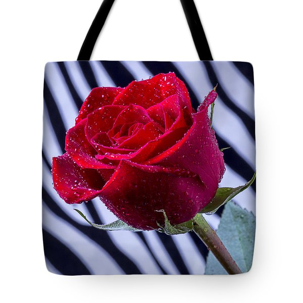 Red Rose With Stripes Tote Bag