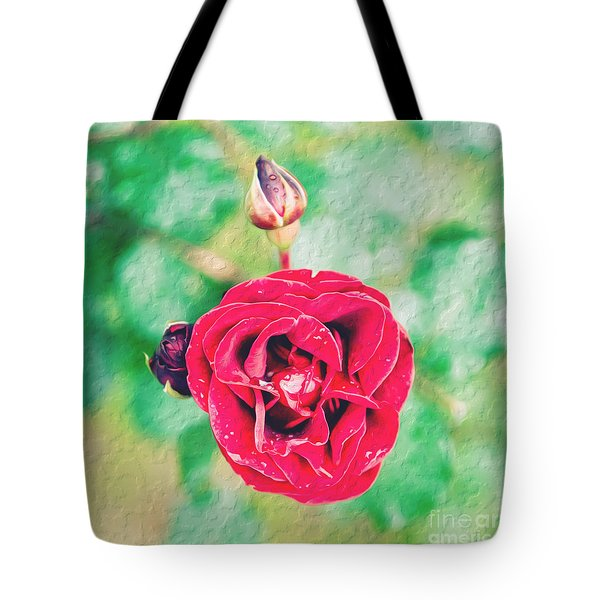 Tote Bag featuring the photograph Red Rose by Yew Kwang