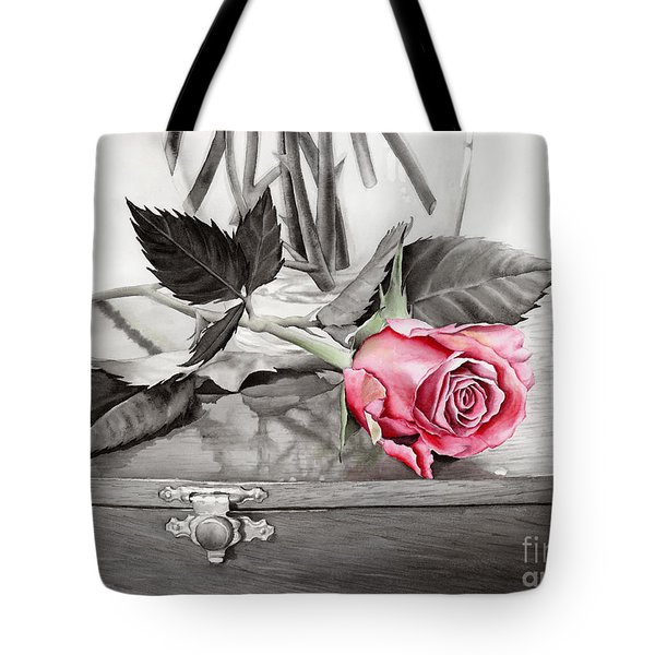 Red Rosebud On The Jewelry Box Tote Bag