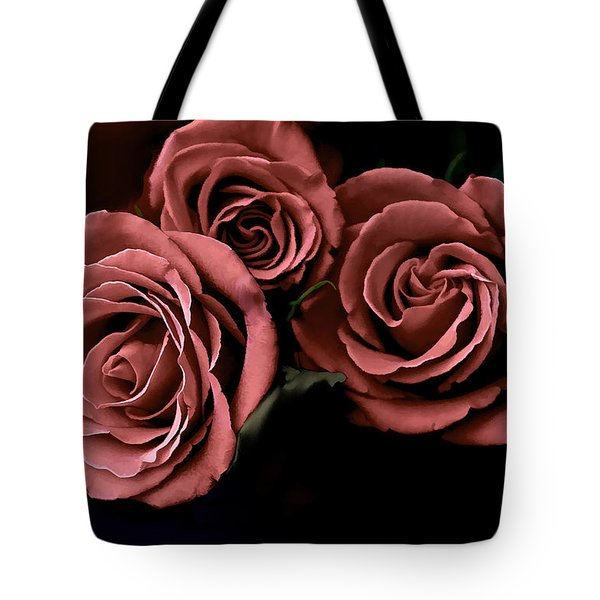 Red Roses Tote Bag by Bonnie Willis