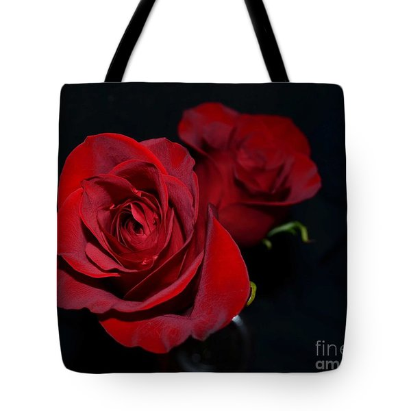 Tote Bag featuring the photograph Red Roses For A Blue Lady by Luther Fine Art
