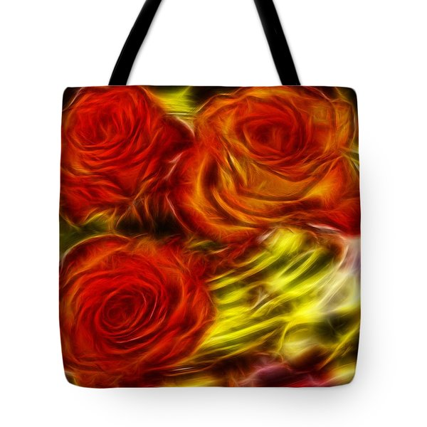 Tote Bag featuring the painting Red Roses In Water - Fractal  by Lilia D