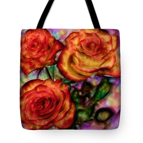 Tote Bag featuring the digital art Red Roses In Water - Silk Edition by Lilia D