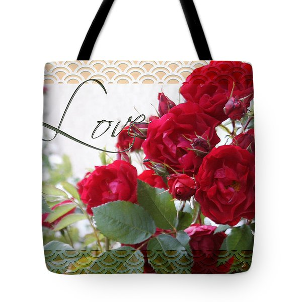 Tote Bag featuring the photograph Red Roses Love And Lace by Sandra Foster