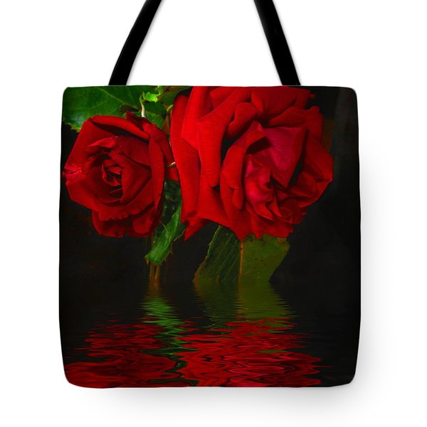 Red Roses Reflected Tote Bag by Joyce Dickens