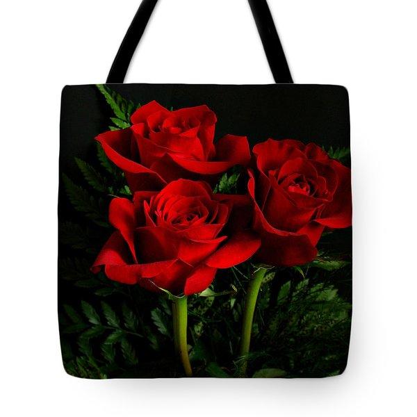 Red Roses Tote Bag by Sandy Keeton
