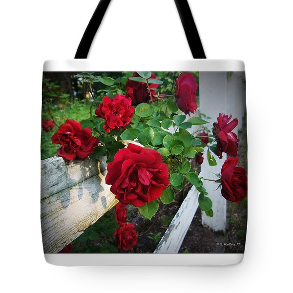 Red Roses - White Fence Tote Bag by Brian Wallace