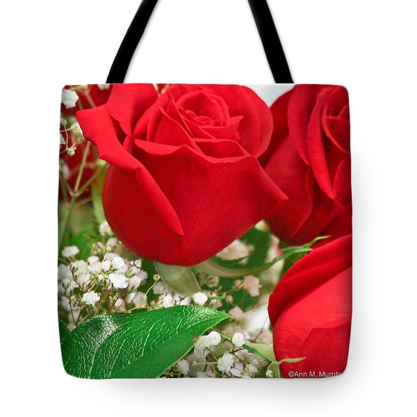 Red Roses With Baby's Breath Tote Bag