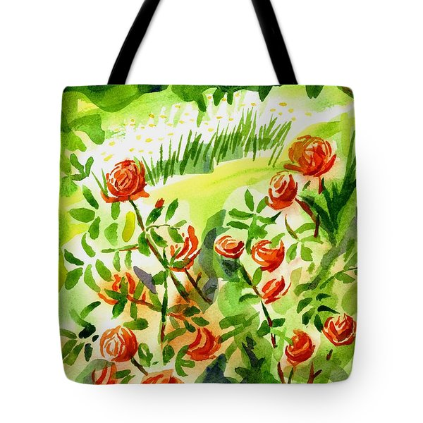 Red Roses With Daisies In The Garden Tote Bag by Kip DeVore