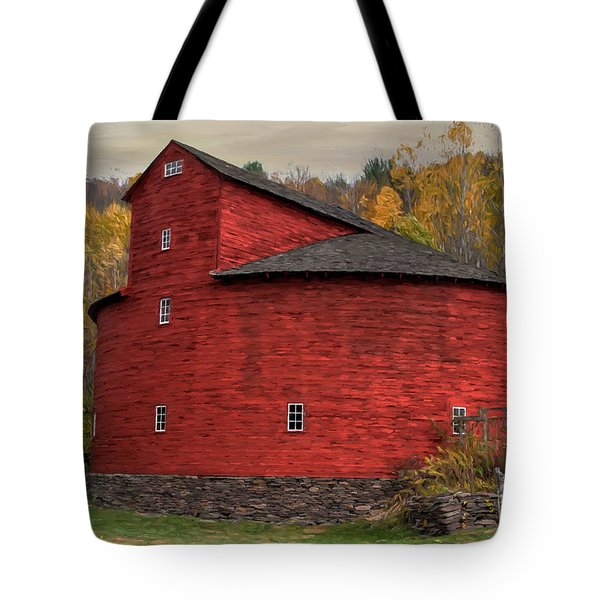 Red Round Barn Tote Bag