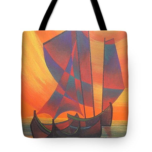 Tote Bag featuring the painting Red Sails In The Sunset by Tracey Harrington-Simpson