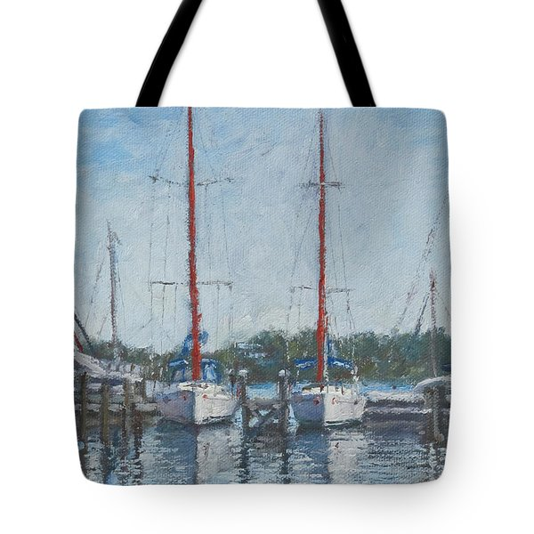 Red Sails Under Gray Sky Tote Bag
