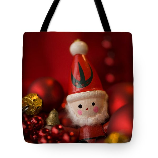 Red Santa Tote Bag by Anne Gilbert