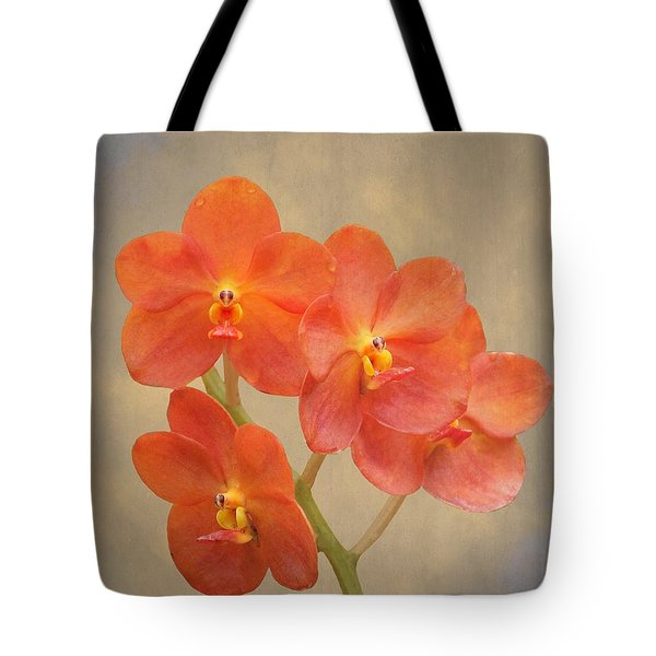 Red Scarlet Orchid On Grunge Tote Bag
