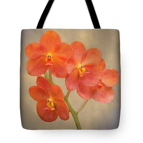 Red Scarlet Orchid On Grunge Tote Bag