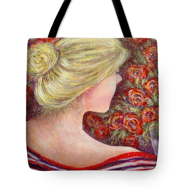 Tote Bag featuring the painting Red Scented Roses by Natalie Holland