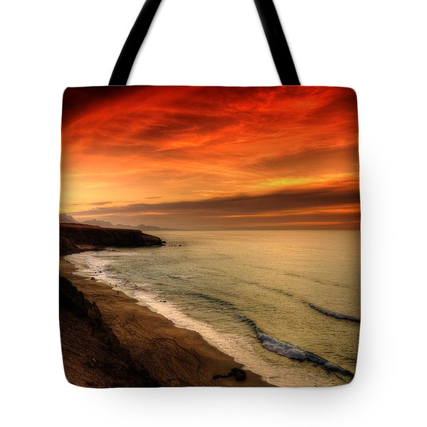 Red Serenity Sunset Tote Bag