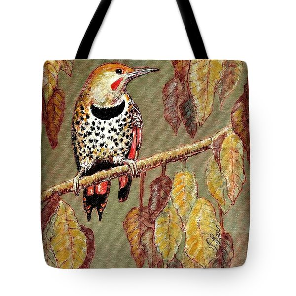 Tote Bag featuring the painting Red Shafted Flicker by VLee Watson