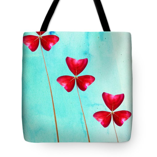 Red Shamrock Trio Tote Bag by Shawna Rowe