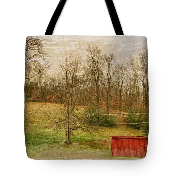 Red Shed Tote Bag by Paulette B Wright