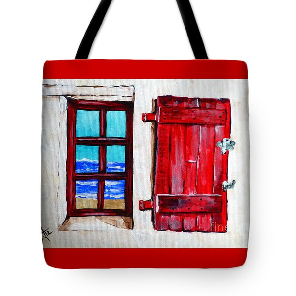 Red Shutter Ocean Tote Bag by Jackie Carpenter