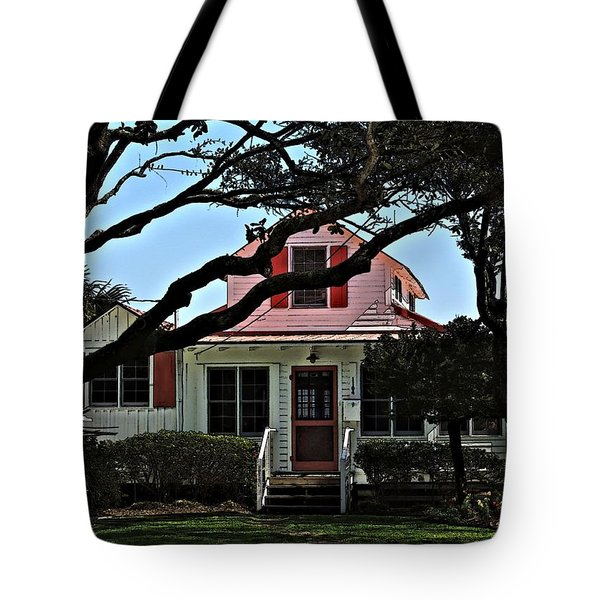 Tote Bag featuring the photograph Red Shutters Cottage by Laura Ragland