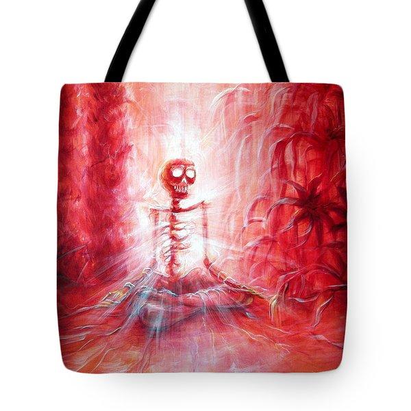 Red Skeleton Meditation Tote Bag