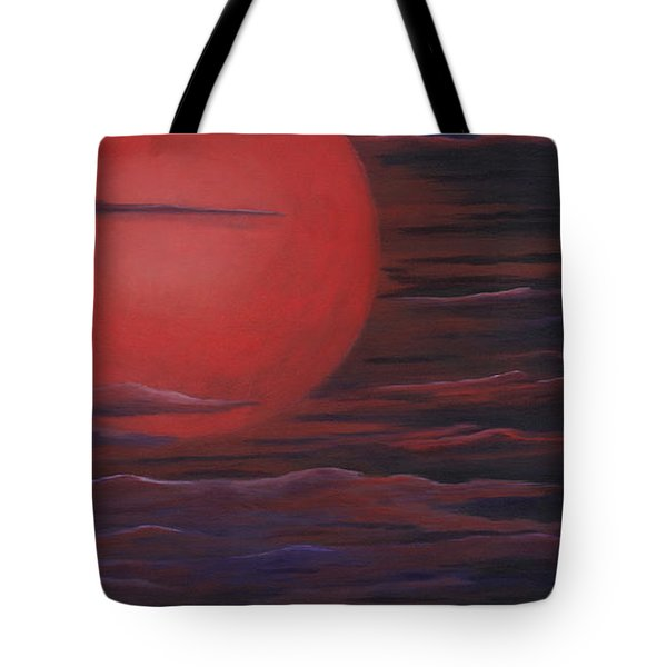 Tote Bag featuring the painting Red Sky A Night by Michelle Joseph-Long