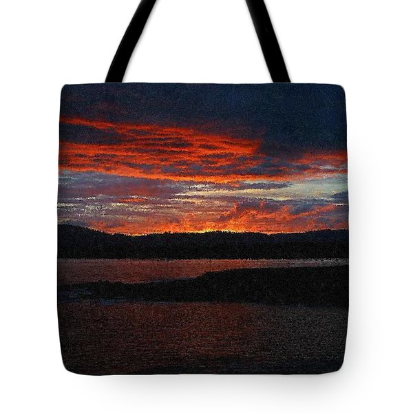 Red Sky At Night Tote Bag by Bruce Nutting