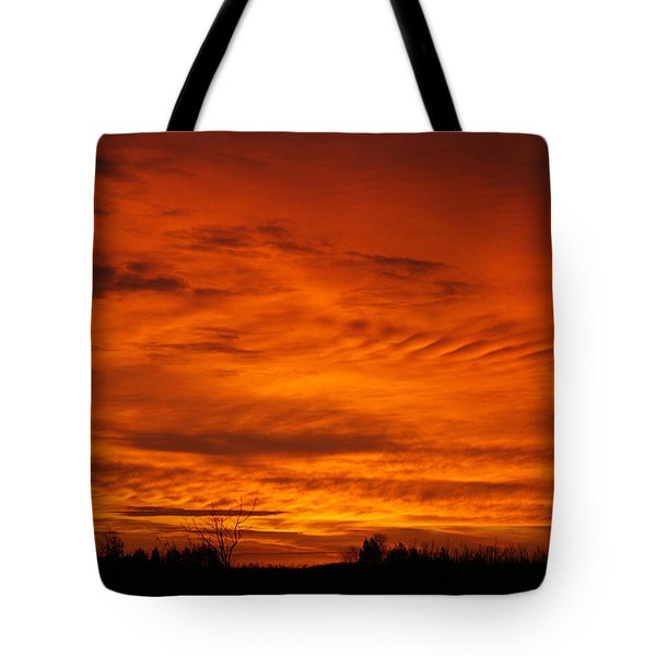 Red Sky In Morning Tote Bag