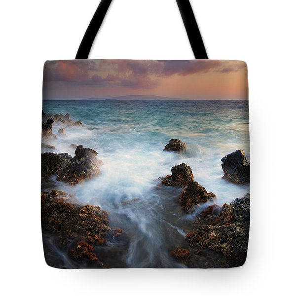 Red Sky Over Kahoolawe . .  Tote Bag by Mike  Dawson