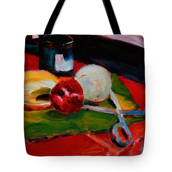 Red Still Life Tote Bag by Janet Felts