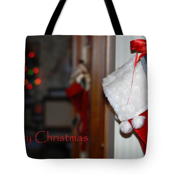 Red Stockings Say Merry Christmas Tote Bag