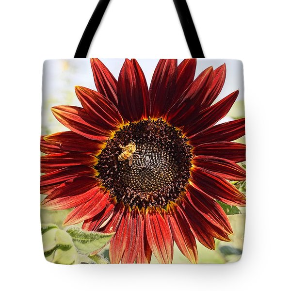 Red Sunflower And Bee Tote Bag