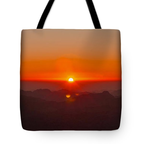 Tote Bag featuring the pyrography Red Sunrise In Sinai Montains by Julis Simo