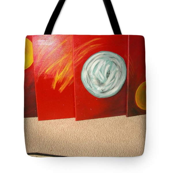 Tote Bag featuring the pastel Red Sunrise-sunset by Sharyn Winters