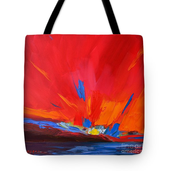 Red Sunset, Modern Abstract Art Tote Bag